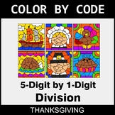 Thanksgiving Color by Code - Division: 5-Digit by 1-Digit