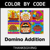 Thanksgiving Color by Code - Domino Addition