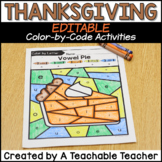 Thanksgiving Color by Code: Editable! Color by Word or Color by Number!