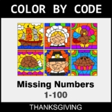 Thanksgiving Color by Code - Find the Missing Numbers (1-100)