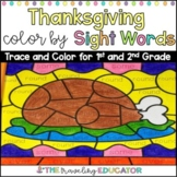 Thanksgiving Color by Code First and Second Grade Sight Word Worksheets