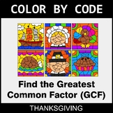 Thanksgiving Color by Code - Greatest Common Factor (GCF)