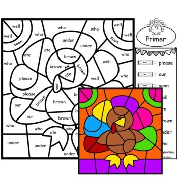 Sight Words - Color by Sight Words Kindergarten Thanksgiving Mystery Pictures