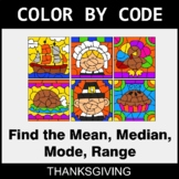 Thanksgiving Color by Code - Mean, Median, Mode, Range