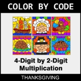 Thanksgiving Color by Code - Multiplication: 4-Digit by 2-Digit