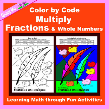 Thanksgiving Color by Code: Multiply Fractions & Whole Numbers