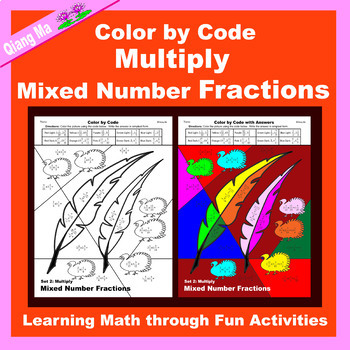 Thanksgiving Color by Code: Multiply Mixed Number Fractions