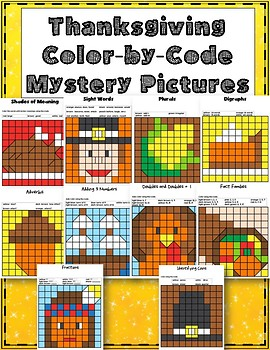 Thanksgiving Color By Code Mystery Pictures Coloring Pages Literacy