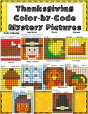 Thanksgiving Color by Code Mystery Pictures Coloring Pages Literacy and Math