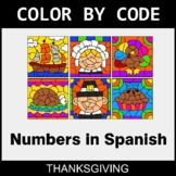 Thanksgiving Color by Code - Numbers in Spanish
