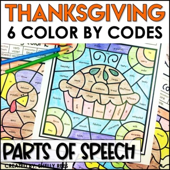 Thanksgiving Color by Code Parts of Speech