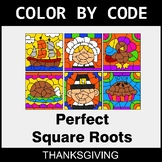 Thanksgiving Color by Code - Perfect Square Roots
