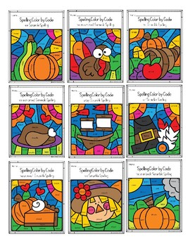 Thanksgiving Color by Code - Phonics Spelling Scramble