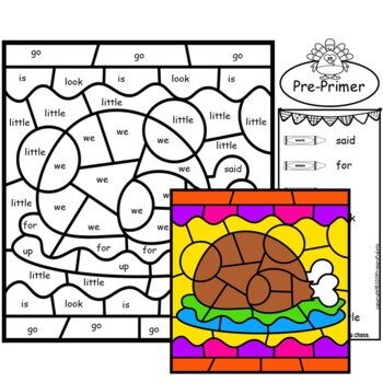 Thanksgiving Color by Sight Words PreKindergarten Mystery Pictures