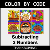 Thanksgiving Color by Code - Subtracting 3 Numbers