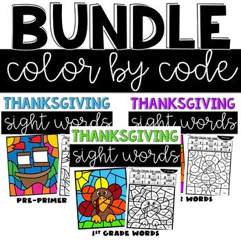 Thanksgiving Color by Code with Pre-Primer, Primer, and 1st Grade Sight Words