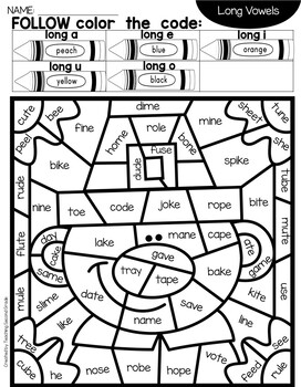 Thanksgiving Color by Code with Short and Long Vowel Worksheets
