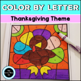 Thanksgiving Color by Letter | Alphabet Coloring Pages