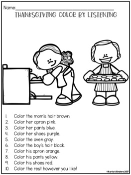 Thanksgiving Color by Listening (A Following Directions Activity)