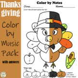 Thanksgiving Music Coloring Pages | Color by Note and Symbol