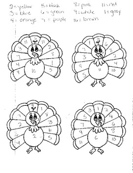 Thanksgiving Color by Number 1-11