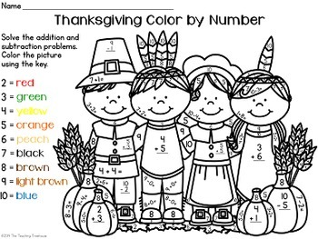 Thanksgiving Color by Number ~ Addition & Subtraction Within 10