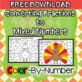 Thanksgiving Color by Number (Converting Fractions to Mixed Numbers)