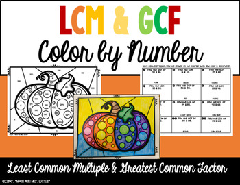 Thanksgiving Color by Number - Greatest Common Factor & Least Common Multiple