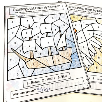 Thanksgiving Color by Number   Math Worksheets