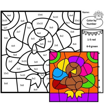 Multiplication Facts - Color-by-Number Thanksgiving Math Mystery Pictures