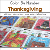 Thanksgiving Color by Number  with Number Sense, Addition,