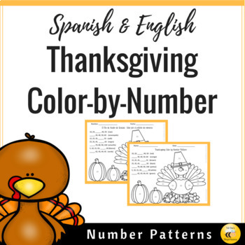 Thanksgiving Color by Number Pattern (Spanish & English)