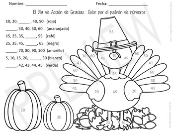 thanksgiving color by number pattern spanish english tpt. Black Bedroom Furniture Sets. Home Design Ideas