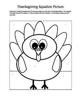 Thanksgiving Color by Number Picture - Writing and Solving One Step Equations