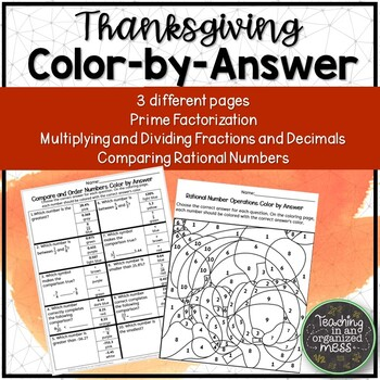 Thanksgiving Math Color by Number--Prime Factorization