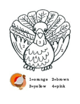 Thanksgiving Color by Number Recognition Math Color Recognition Printable