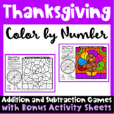 Thanksgiving Color by Number Addition and Subtraction Games