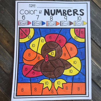 Thanksgiving Color by Numbers 1-10 Activities