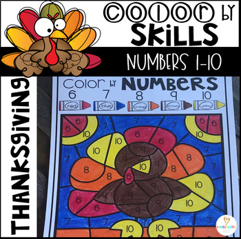 Thanksgiving Color by Code Numbers 1-10 Activities