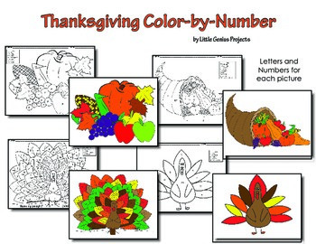 Thanksgiving Color by Numbers/Letters (USA)