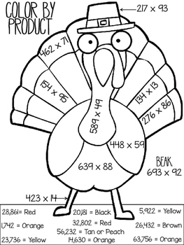 Thanksgiving Color by Product and Quotient