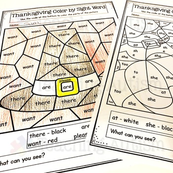 Thanksgiving Color by Sight Word | Primer Sight Words