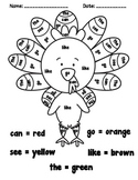 Thanksgiving Color by Sight Word