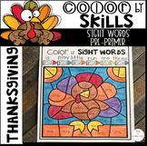 Thanksgiving Color by Sight Words Pre-Primer Sight Word Activities