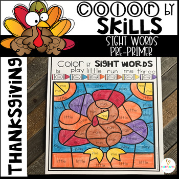 Thanksgiving Color by Code Sight Words Pre-Primer Sight Word Activities