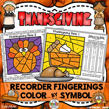 Thanksgiving Color by Symbol (Recorder Fingerings)