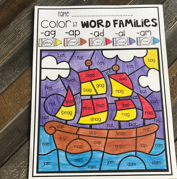 Thanksgiving Color by Word Families
