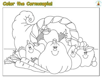 Thanksgiving Color the Cornucopia Grades PK - 1
