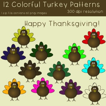 Thanksgiving Colorful Turkey Clipart