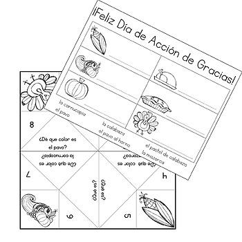 El Día de Acción de Gracias / Thanksgiving Coloring Activities in Spanish